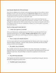 resume objectives exles generalizations 10 good resume objective resume type