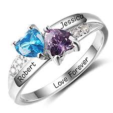 rings cheap personalized simulated birthstone promise names ring