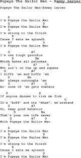 popeye the sailor song popeye the sailor man by sammy lerner song lyric for vocal