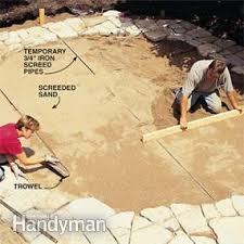 How Much Is A Flagstone Patio Build A Stone Patio Or Brick Patio Family Handyman