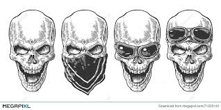 skull smiling with bandana and glasses for motorcycle black