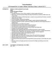 Product Management Resume Samples by Product Development Manager Resume Sample Velvet Jobs