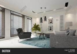 modern white luxury living room with window blinds on a row of