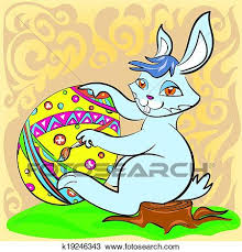big easter bunny clipart of easter bunny with big egg and brush k19246343 search