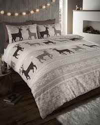 helsinki flannelette taupe stag double quilt duvet cover and 2
