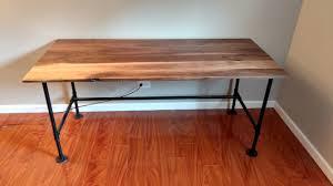 Industrial Standing Desk by Walnut Pipe Desk Battlestation Album On Imgur