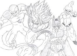 dbz drawings goku vs cell sketch coloring page coloring home