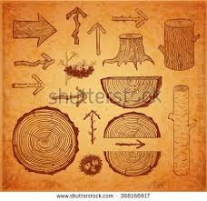 vintage sketches wood cuts logs stump stock vector 365877440