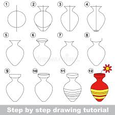 Vase Drawing Vase Drawing Tutorial Stock Vector Image 69553692
