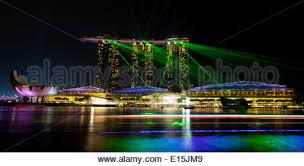 Bay Bridge Light Show Singapore Apr 5 Marina Bay Sands Hotel Light Show At Night On