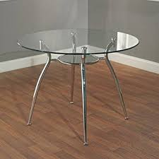Round Dining Room Tables For 4 by Amazon Com Simple Living Modern Tempered Glass And Chrome Small