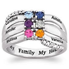 mothers ring 6 stones mothers rings with four heart stones and names mothers jewelry
