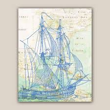 Old Mexico Map by Blue Bilander Sailboat Print 11x14 Print Old Map Mexico Golf