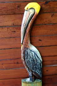 pelican on the pier 4ft chainsaw carved saltwater wild bird
