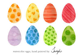 easter eggs watercolor illustrations creative market