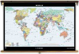 World Map With States by Klett Perthes Political United States U0026 World Map Spring Roller