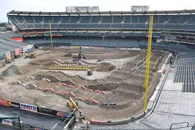 monster truck jam anaheim angel stadium turned into giant dirt track for supercross racing