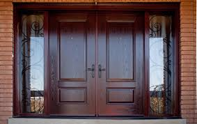 in demand brown wooden finished double exterior doors for natural