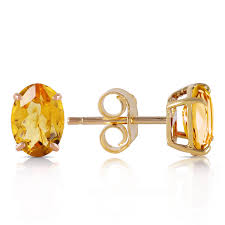 citrine earrings 14k solid gold stud earring with citrines