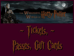 tickets gift card wwohp tickets passes gift cards harry potter notes