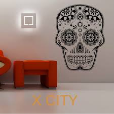 compare prices on wall stencils abstract online shopping buy low sugar skull creative cool vinyl wall decal large art decor sticker living room door stencil mural