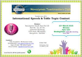 Table Topics Toastmasters Novozymes Toastmasters Novozymes Toastmasters Club U2013 Where