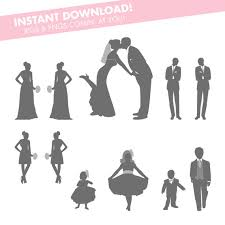 make your own wedding programs gray wedding party silhouettes instant for diy wedding