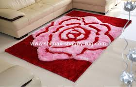 Rose Area Rug Rose Flower Polyester Silk Pink Or Brown Color Shaggy Carpet Area