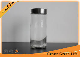 Metal Containers With Lids For Storage - 1000ml large cylinder glass storage jars with lids metal