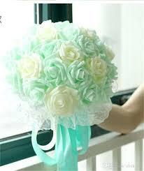 mint wedding decorations 22 flowers bridal wedding bouquet mint blue purple chagne