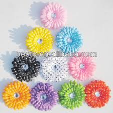 flowers for headbands silk gerbera polka dot rhinestone center artificial flowers