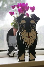 wooden planters schnauzer plant pot holder garden ornaments