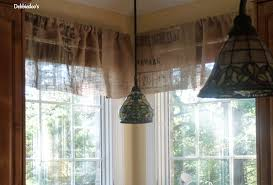 Kitchen Valance Ideas by Burlap No Sew Projects Diy Kitchen Valances Made From Coffee Bagss
