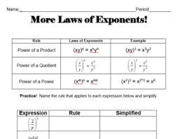 laws of exponents 2 day lesson of worksheets u0026 games by k phillips