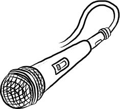 black and white cartoon microphone sketch coloring page