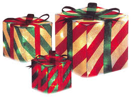 gift boxes christmas 3 striped gift box christmas yard decoration set