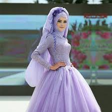 hijab lavender muslim evening dress ball gown long sleeve islamic