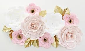 gold flowers paper wall flower set in blush caden