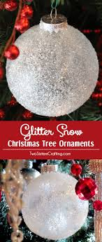 diy glitter snow ornaments two crafting