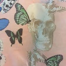 53 h m accessories butterfly and skull pink scarf from