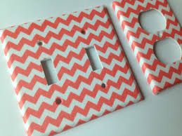 coral chevron double light switch cover and outlets coral home