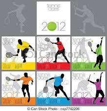 clip art vector of tennis aces 2012 calendar template csp7742206