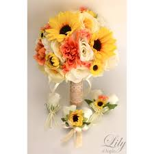 Coral Boutonniere Coral Yellow Ivory Sunflower Rustic Burlap Lace Bouquets