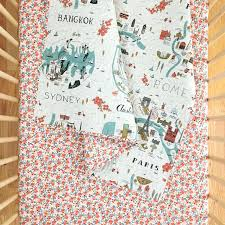 Map Bedding Rifle Paper Co Baby Quilt In City Maps And Rosa In Peach