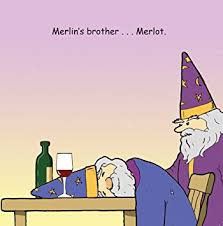 twizler funny card with merlin merlot and wine blank card