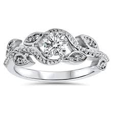 leaf engagement ring 3 8ct vintage floral leaf diamond engagement ring 14k white gold