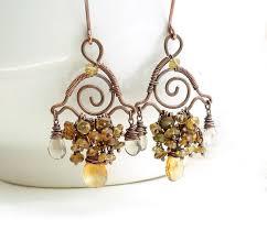 Citrine Chandelier Earrings Citrine Chandelier Earrings Wire Wrapped Copper By