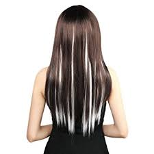 white hair extensions neitsi 10pcs 18inch colored highlight synthetic clip