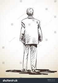 sketch standing man suit back hand stock vector 372957601