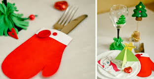 Diy Paper Christmas Decorations Diy Christmas Table Decor Paper Mittens Cutlery Holders